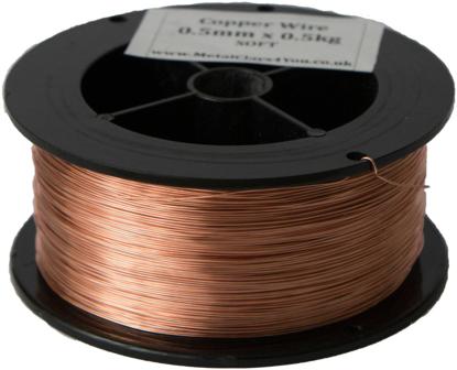 Picture of Unplated Copper Round Wire (Half Hard) 1.2mm x 1kg  (2x500g)