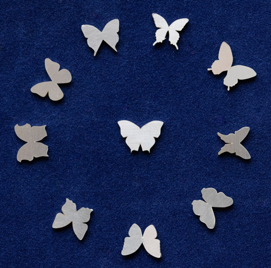 Picture of 925 Sterling Silver Butterflies Solderable Accent (set of 10 pc) - 24ga