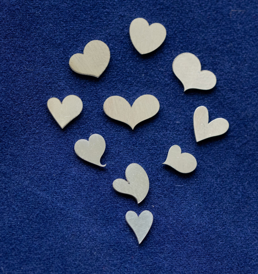 Picture of 925 Sterling Silver Hearts Solderable Accent (set of 10 pc) - 26ga