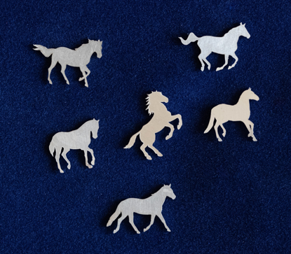Picture of 925 Sterling Silver Horses Solderable Accent (set of 6 pc) - 24ga